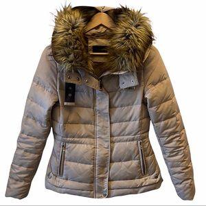 Zara Faux Fur Trimmed Puffer Jacket Tan sz Medium